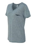 Ladies V-Neck Short Sleeve T-Shirt (Grey)