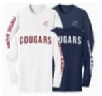 Long Sleeve T-Shirt With Logo on left chest, down the arm and across the back (NAVY)